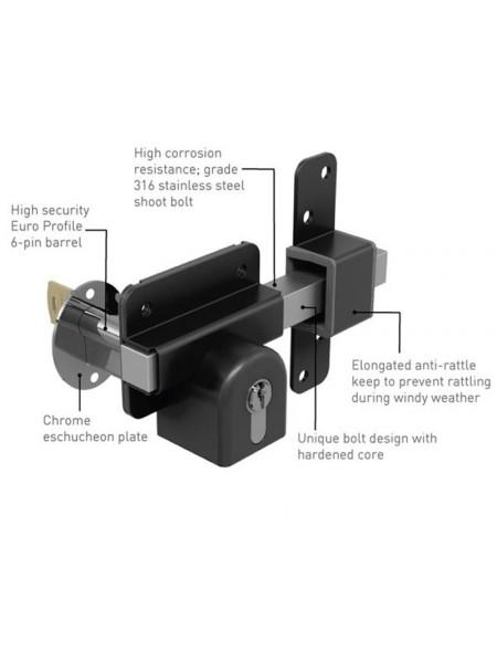 """Gatemate® Euro Profile Long Throw Lock (Double Locking) 2¾""""(70mm)"""