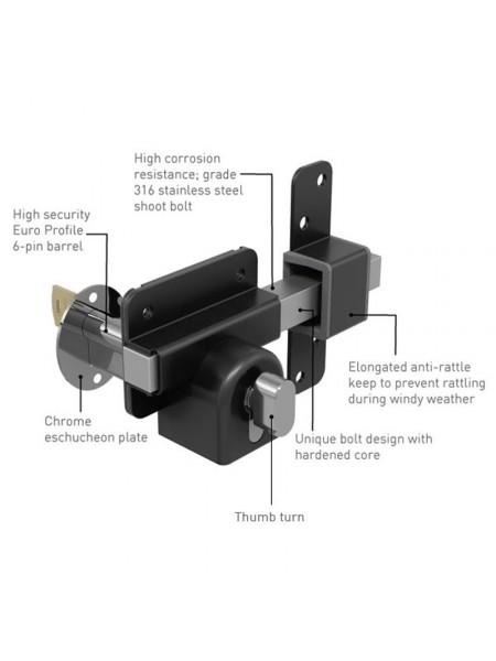 "Gatemate® Euro Profile Long Throw Lock (Single Locking with Thumb Turn) 2""(50mm)"
