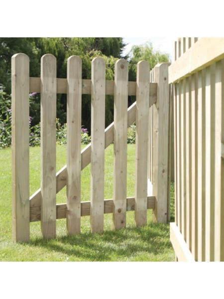 Pale Picket Gate (Framed) 0.9m (h) x 0.9m (w)