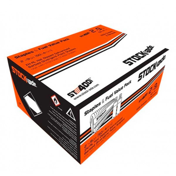 ST400i Stock-ade 40 x 4mm Barbed Staples x 1000 c/w 2 Fuel Cells
